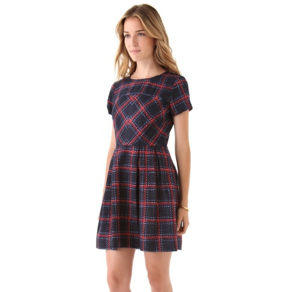 Anthropologie Dresses & Skirts - Anthropologie Shoshanna navy red plaid dress